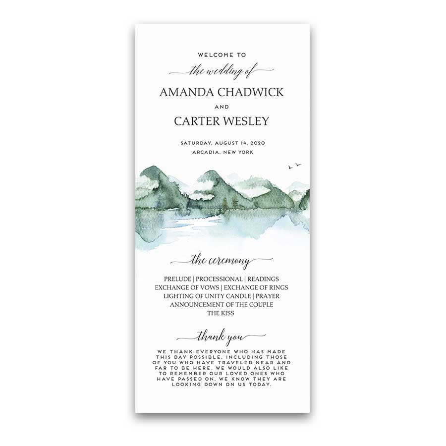 Mountain Wedding Program Template Watercolor Forest Lake