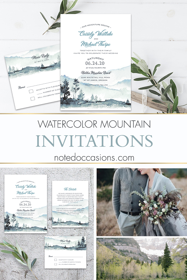Mountain Wedding Invitations Template