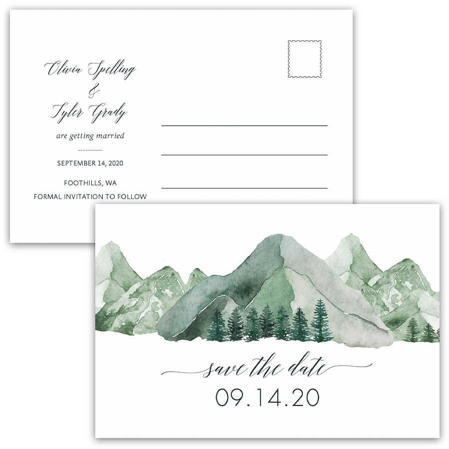 Mountain Wedding Postcard Save the Date with Pine Forest