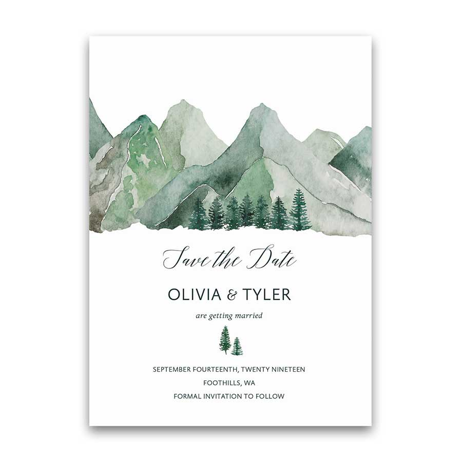 Mountain Wedding Invitation Card Style Save the Date Template