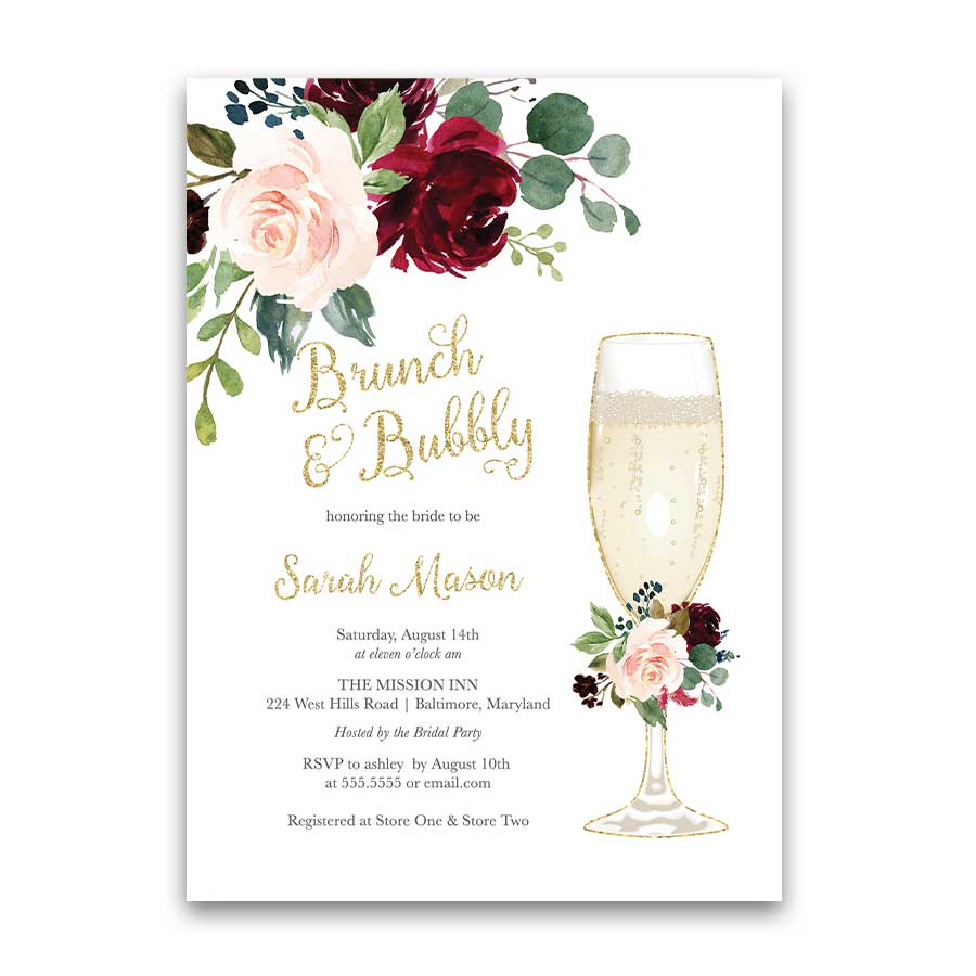 Brunch Bridal Shower Invitation Champagne Glass Burgundy Floral