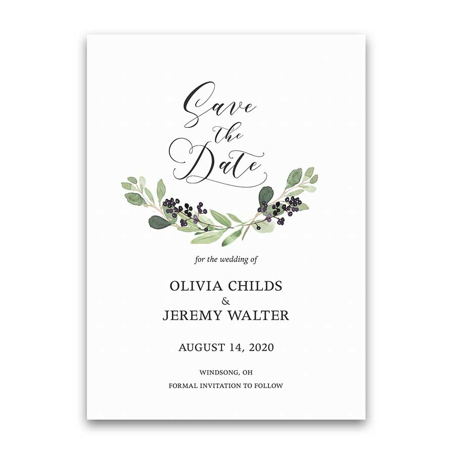 Greenery Wreath Save the Date Wedding Card Purple Berries