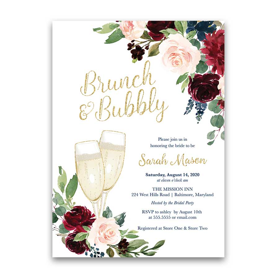 Brunch Bridal Shower Invitation Champagne Glass Floral Gold