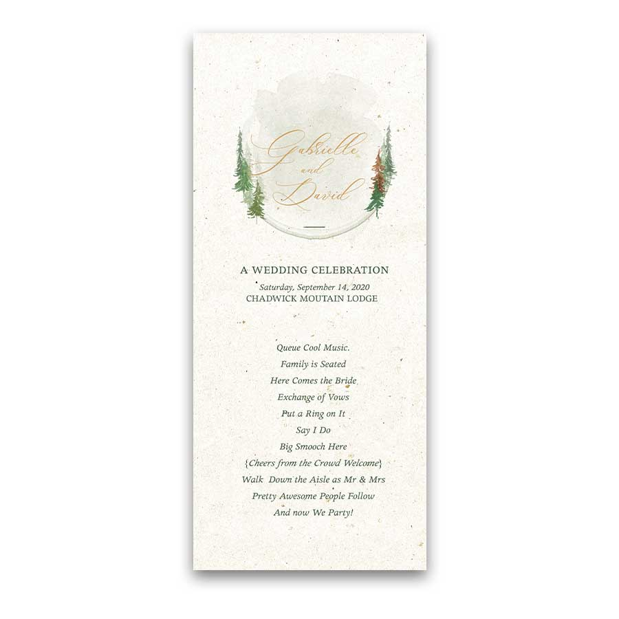 Tree Forest Woodland Wedding Program