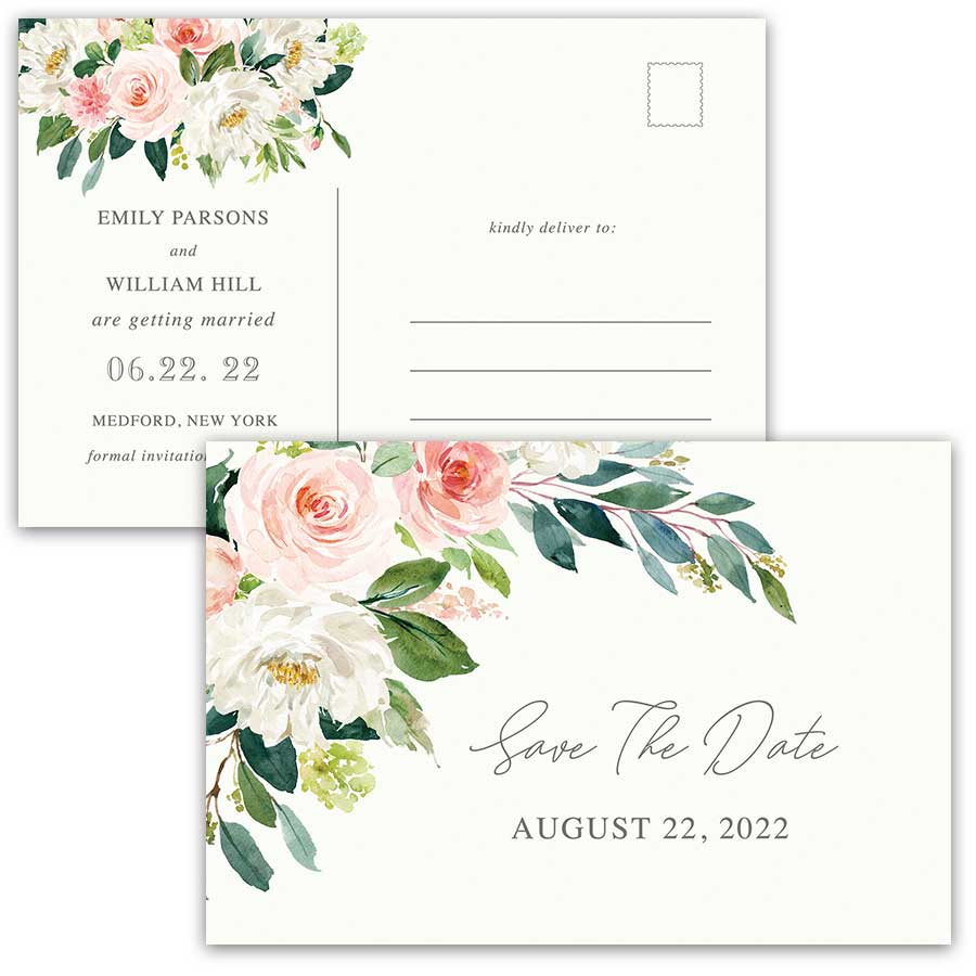 Wedding Save Our Date Postcards Blush Florals and Greenery