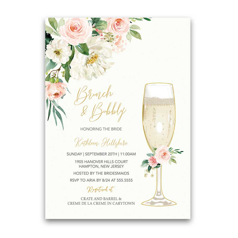 Brunch and Bubbly Shower Invitation Blush