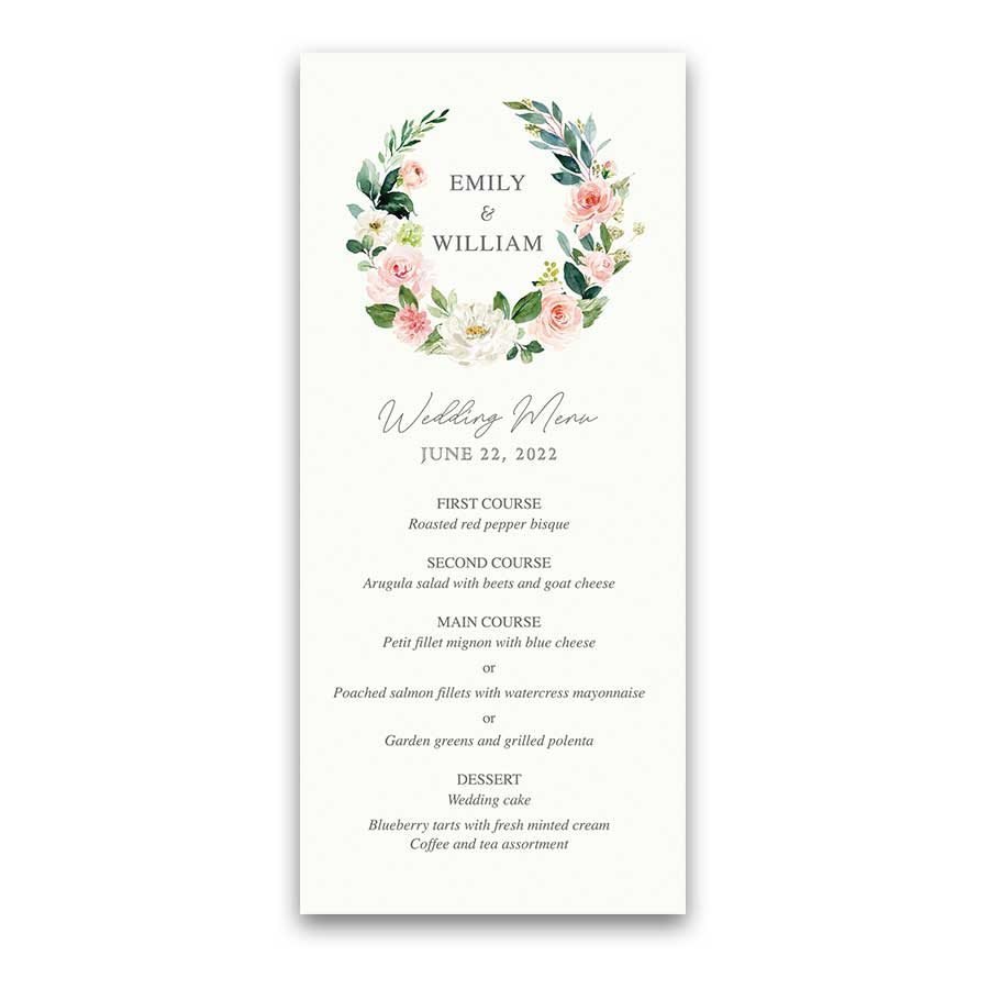 Floral Wedding Menu Template Blush Greenery Wreath Elegant