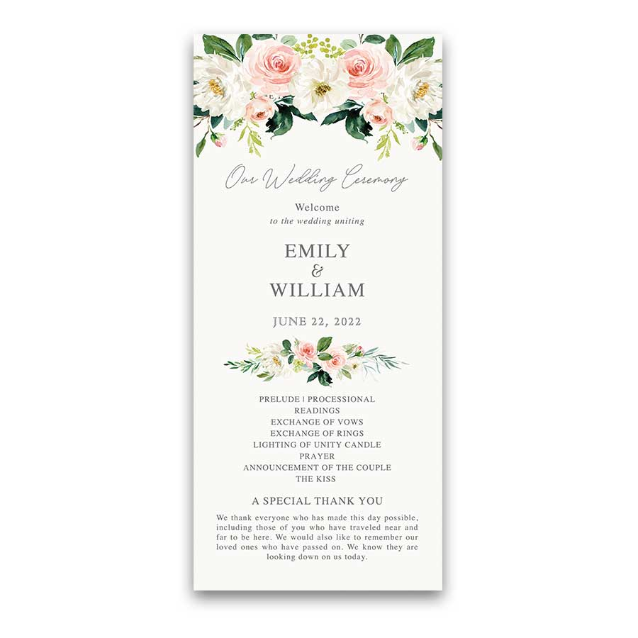 Blush Floral Wedding Program Watercolor Greenery Garden Blooms