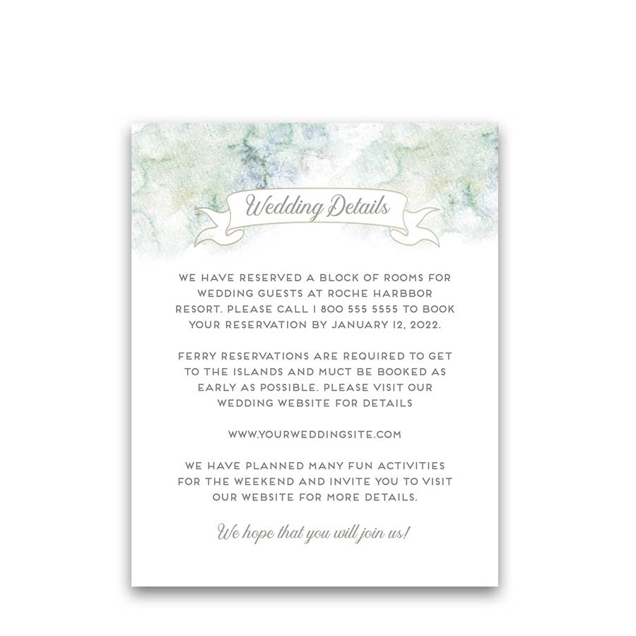 Beach Wedding Information Insert Cards San Juan Islands