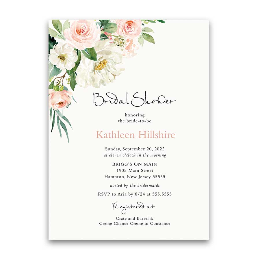 Summer Wedding Shower Invitation Blush Floral