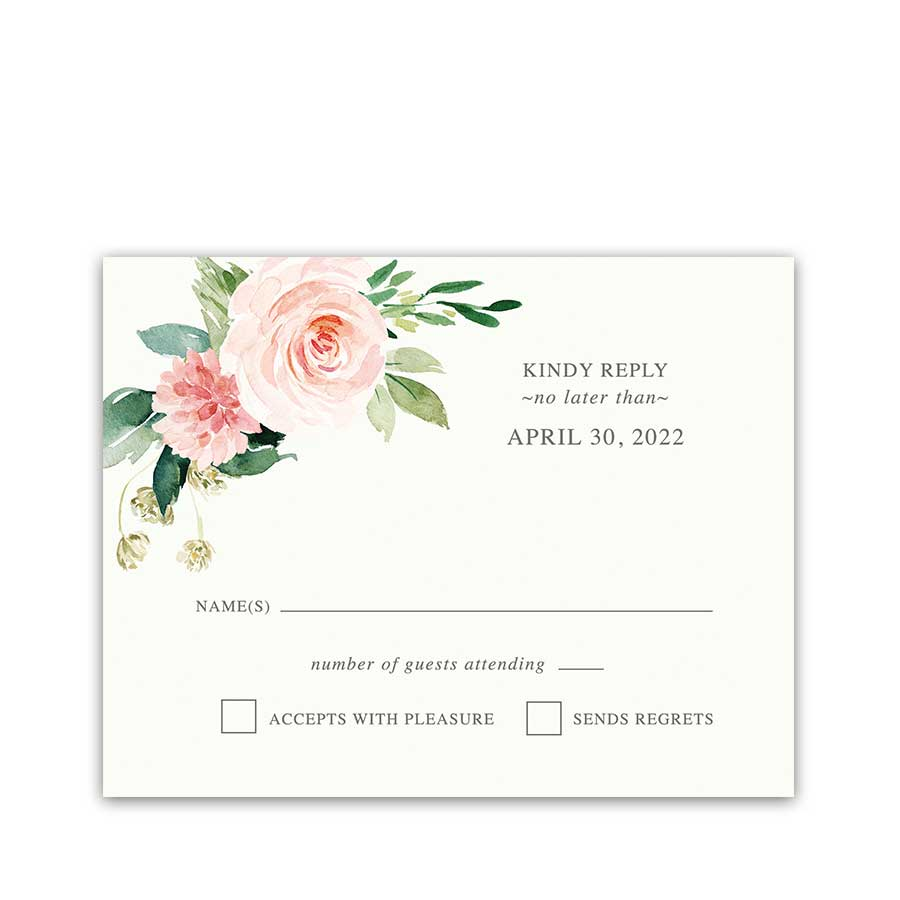 Blush Floral RSVP Cards for Weddings Elegant Vintage Style