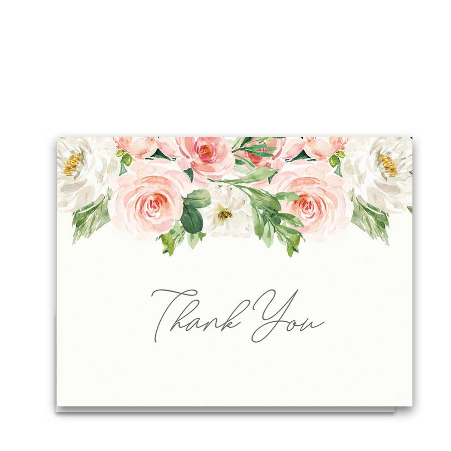 Elegant Thank You Cards Wedding Blush Floral Watercolor Greenery