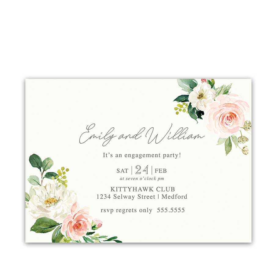 Floral Engagement Party Invitation Blush and Cream Watercolor
