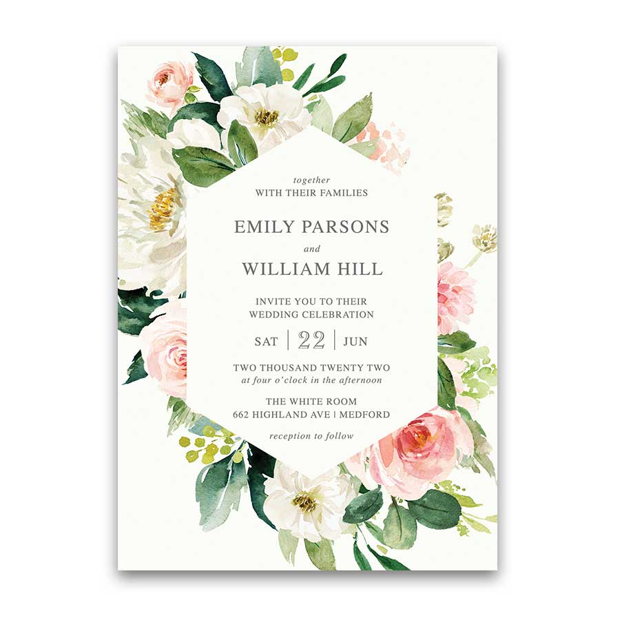 Blush Floral Wedding Invitation Framed Greenery White Florals
