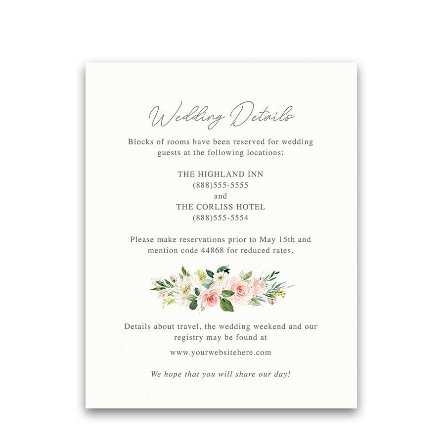 Blush Floral Wedding Detail Accommodation Cards