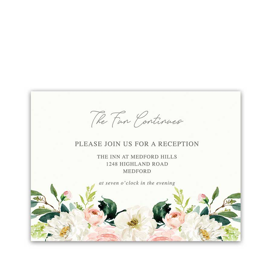 Insert Card Wedding Reception Details Blush Floral Watercolor