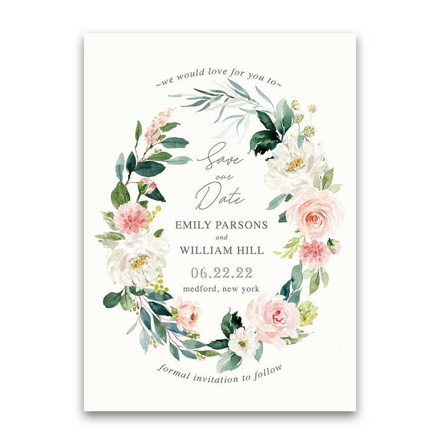 Blush Save Our Date Cards with Watercolor Florals Greenery