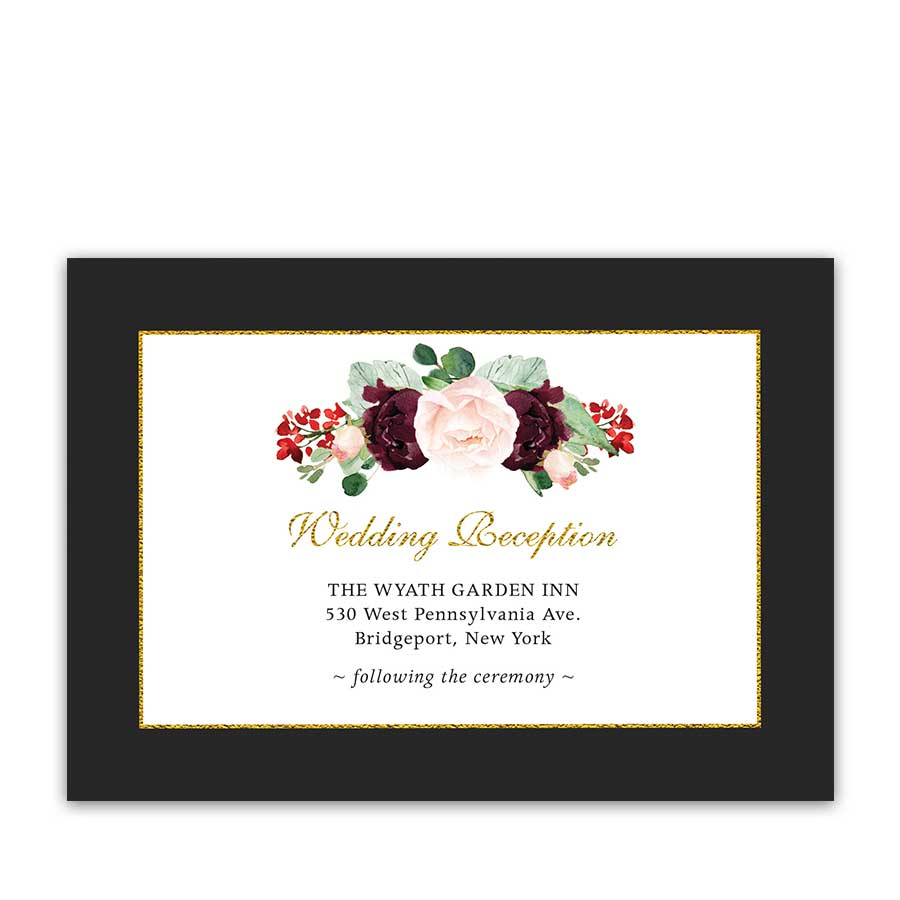 Wedding Reception Details Insert Plum Burgundy Fall Wedding