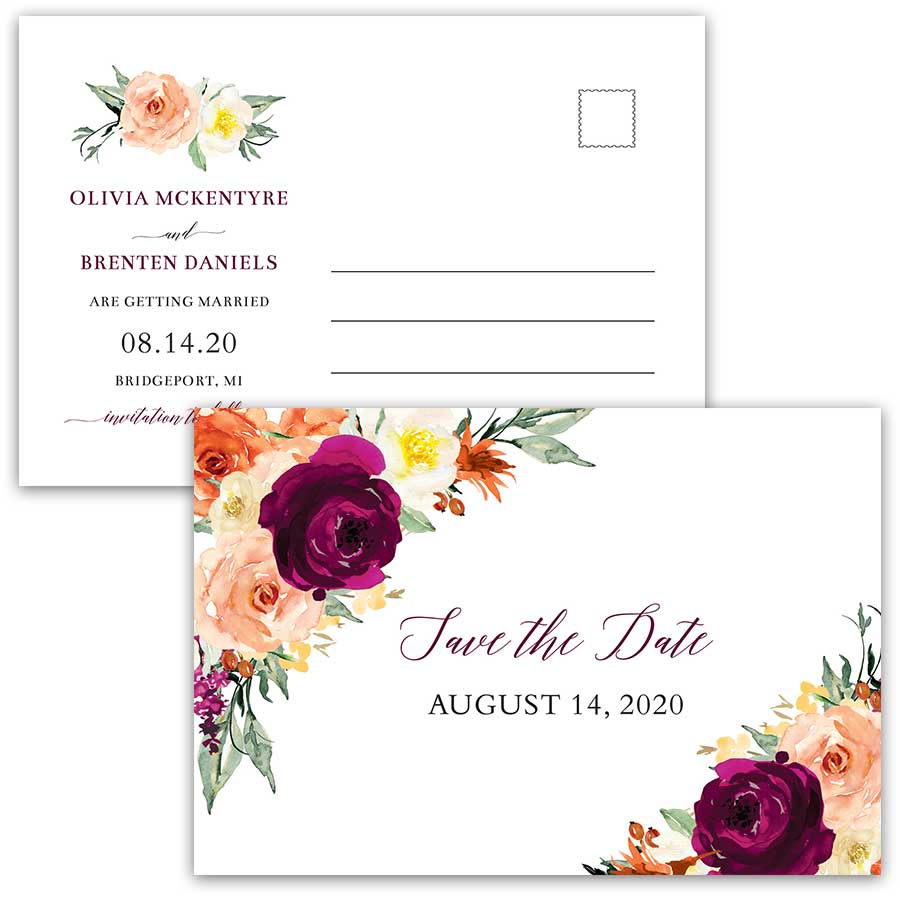 Plum Save the Date Wedding Postcard Purple Orange Flowers