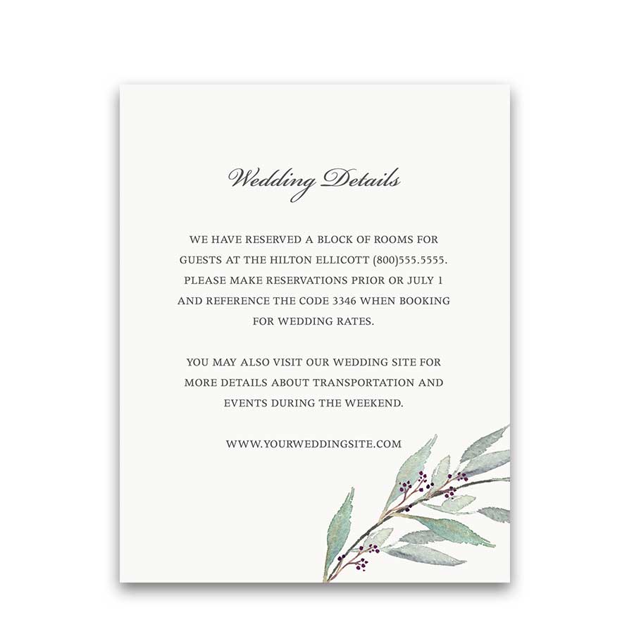Greenery Wedding Ideas Details Card Add On