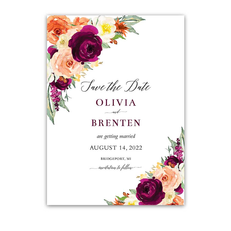 Fall Wedding Purple Orange Floral Plum Save the Date Card
