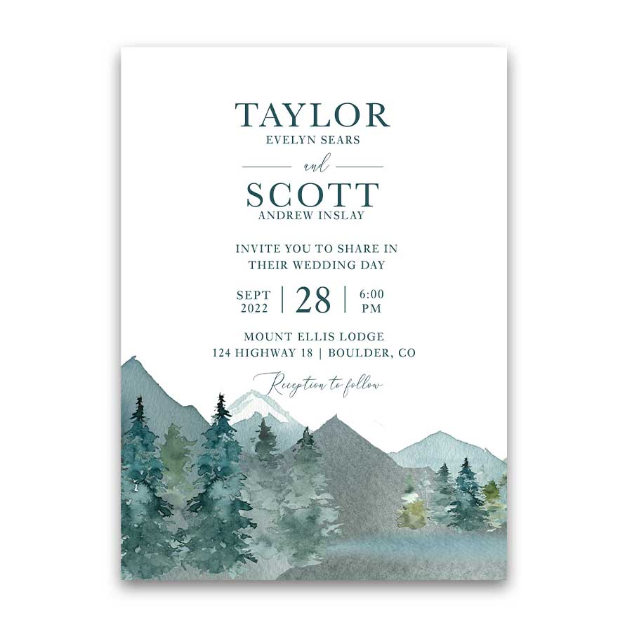 Wedding Invitation Mountain Evergreen Forest Wedding Invite