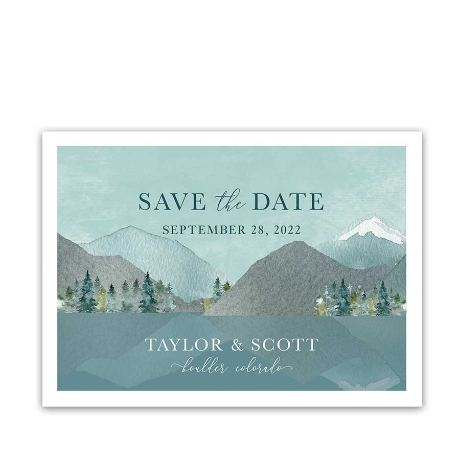 Wedding Save the Date Mountain Forest Wedding Template Card