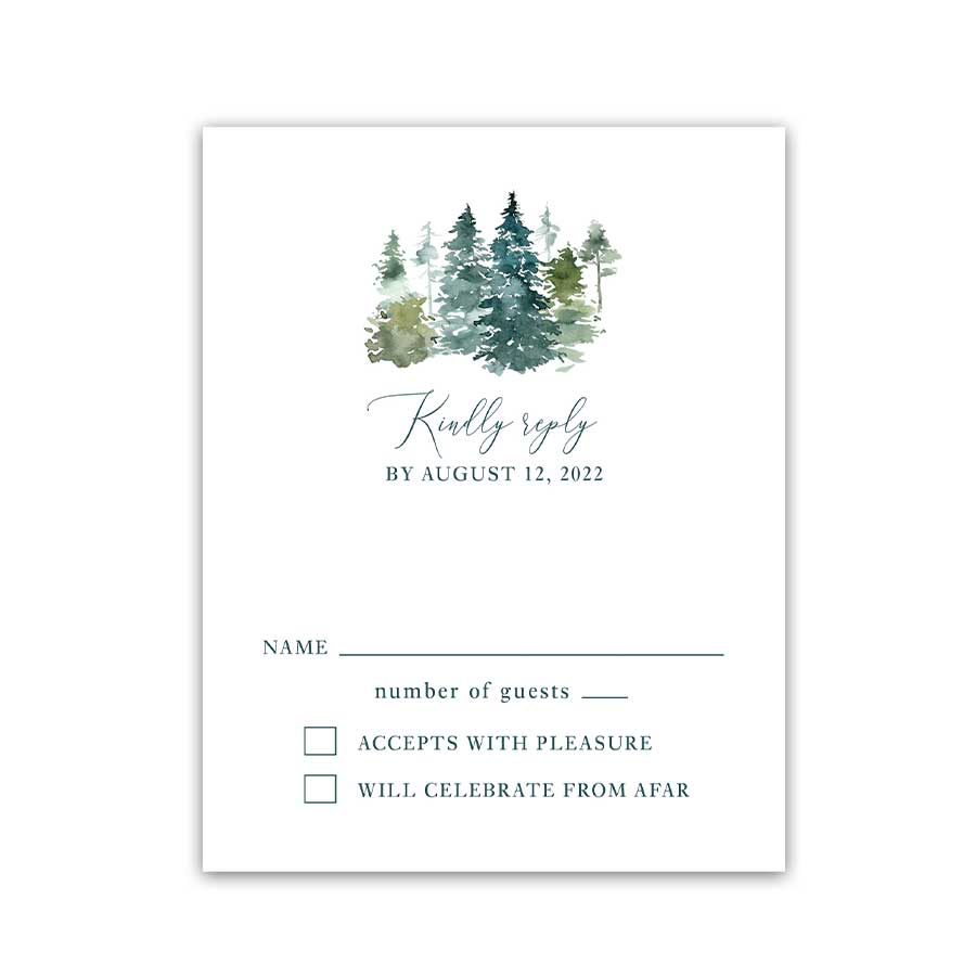 Wedding RSVP Mountain Evergreen Forest Guest Reply Cards