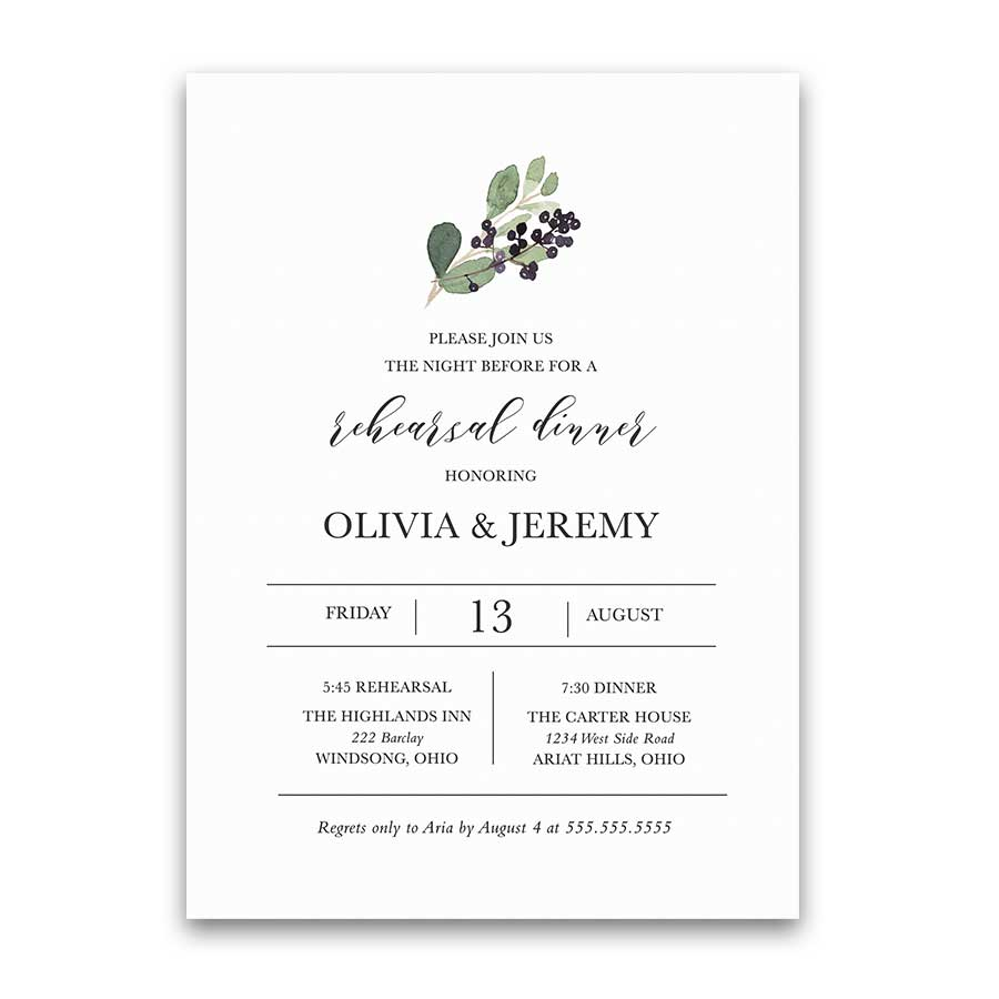 Rehearsal Dinner Invitation Greenery and Purple Berries