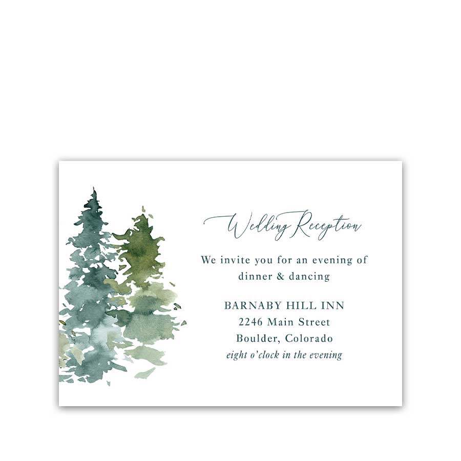 Mountain Wedding Reception Details Card Insert for Weddings