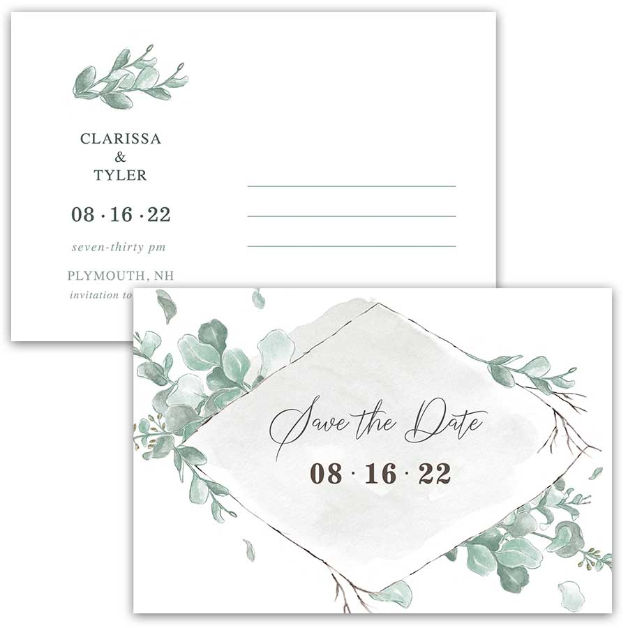 Eucalyptus Save the Date Cards Watercolor Washes Modern