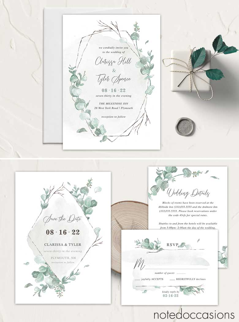Eucalyptus Wedding Invitations Suite Simple Modern