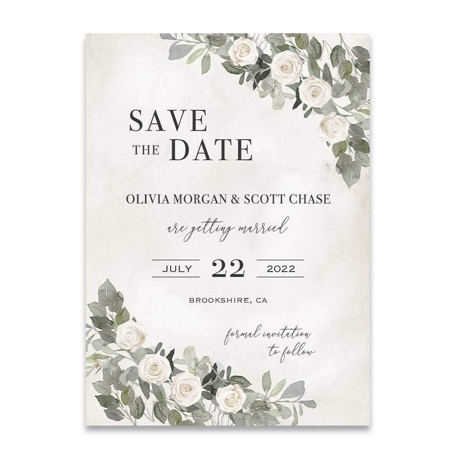 Elegant Greenery Wedding Save the Date Romantic Vintage