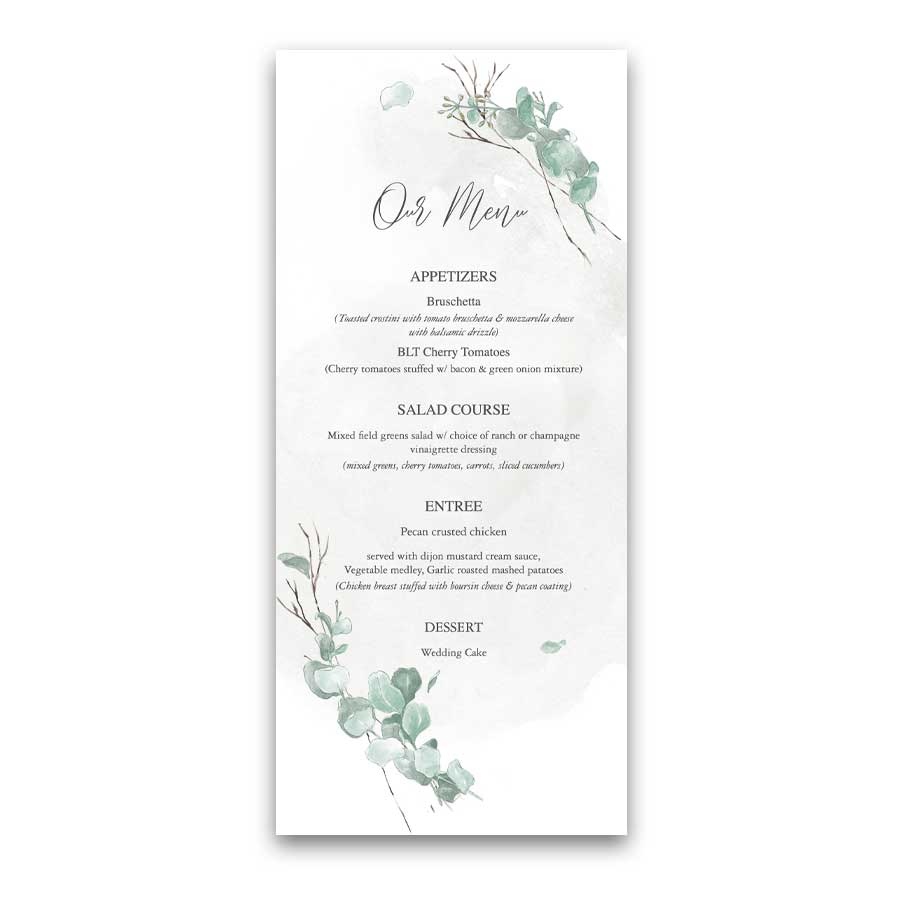 Modern Wedding Menu Eucalyptus Sprigs