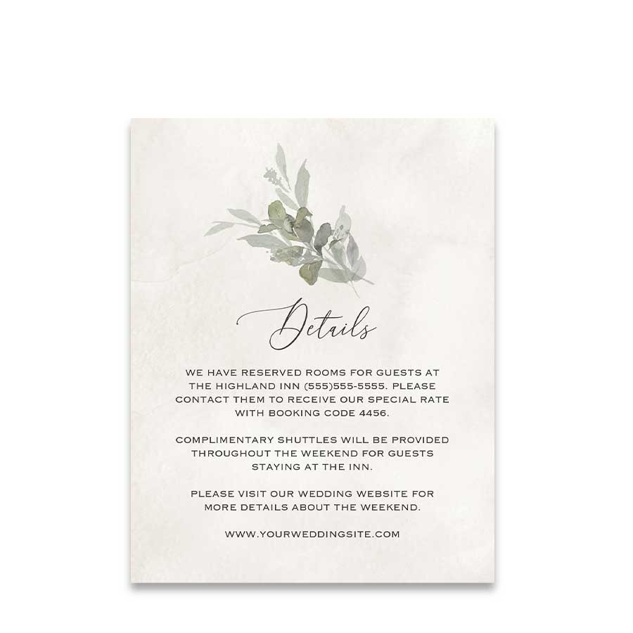 Eucalyptus Wedding Details Card Boho Wedding Insert Card