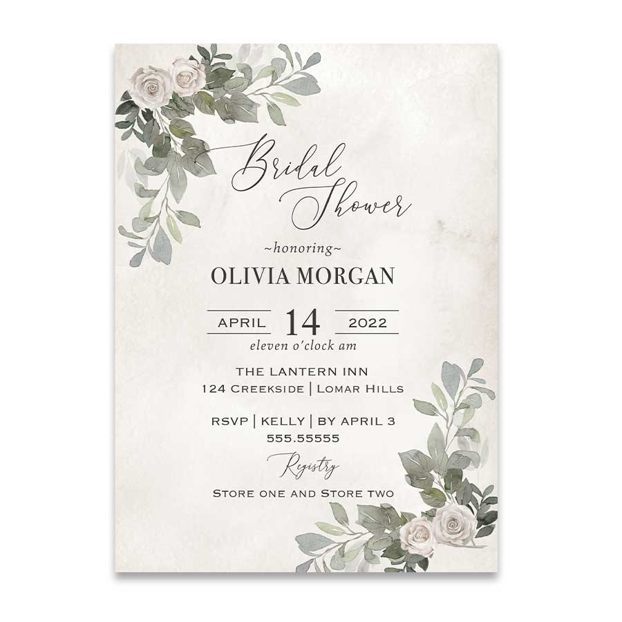 Bridal Shower Invitations Greenery Brunch and Bubbly Invite