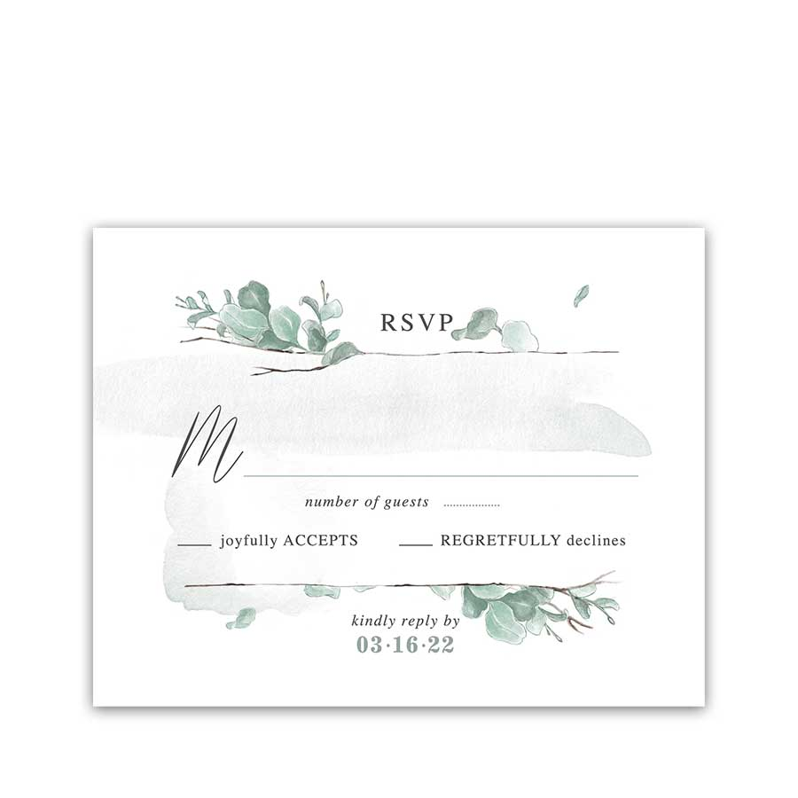 Eucalyptus Wedding RSVP Cards Modern and Minimalist