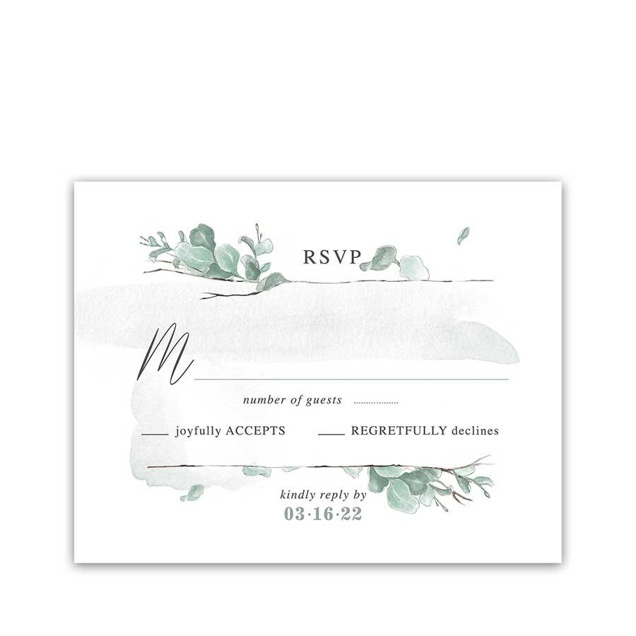 Eucalyptus Wedding RSVP Cards Modern and Minimalist