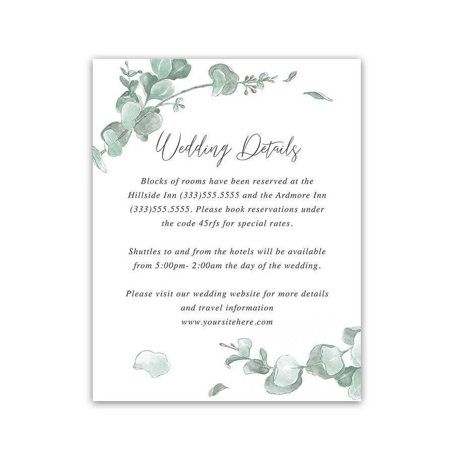Wedding Information Insert Card Eucalyptus Details Add on