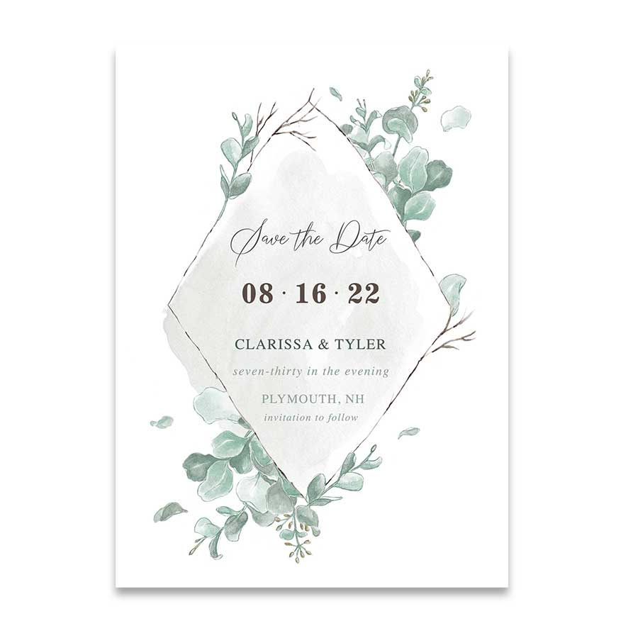 Save the Date Eucalyptus Wedding Card Watercolor Wash