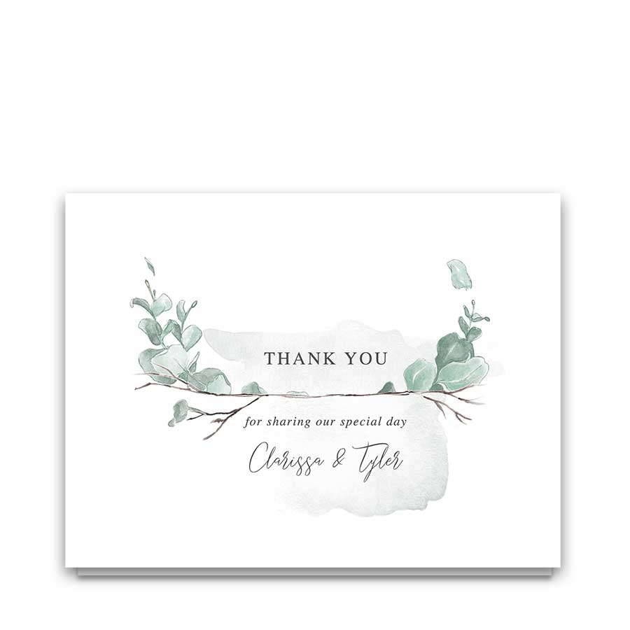 Wedding Thank You Card Watercolor Greenery Eucalyptus