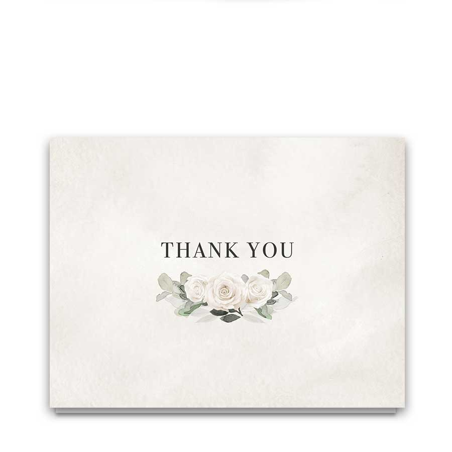 Thank You Notes Wedding Watercolor White Roses Greenery