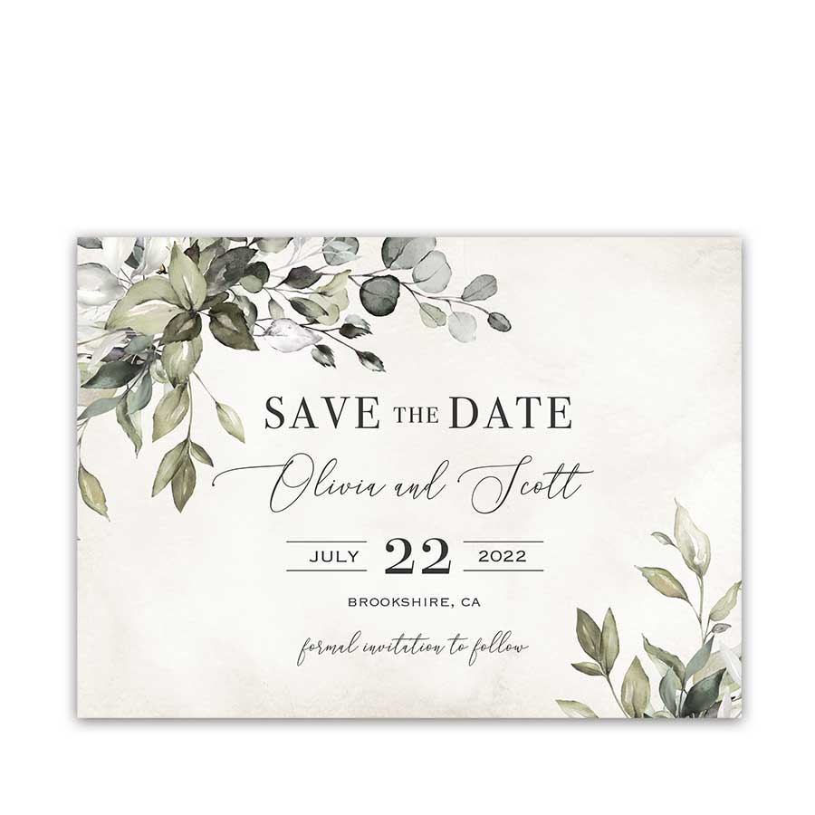 Greenery Save the Date Card Romantic Vintage Garden