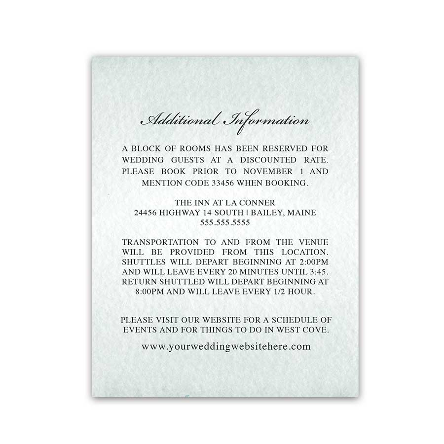 Winter Mountain Wedding Details Card Accommodations