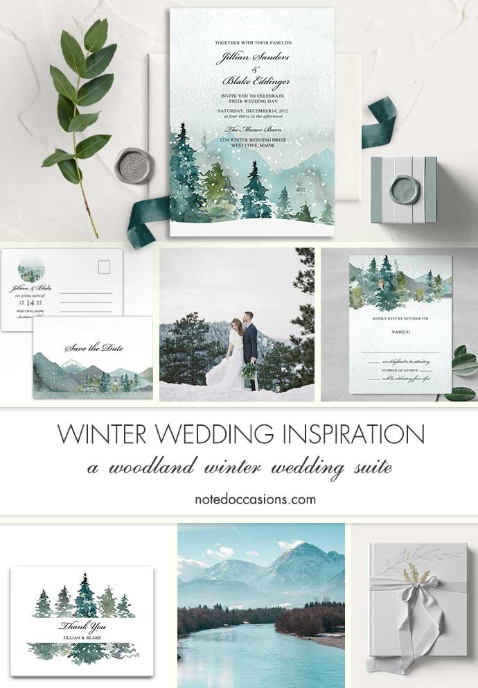 Winter Wedding Invitation Mountain Evergreen Forest Snow