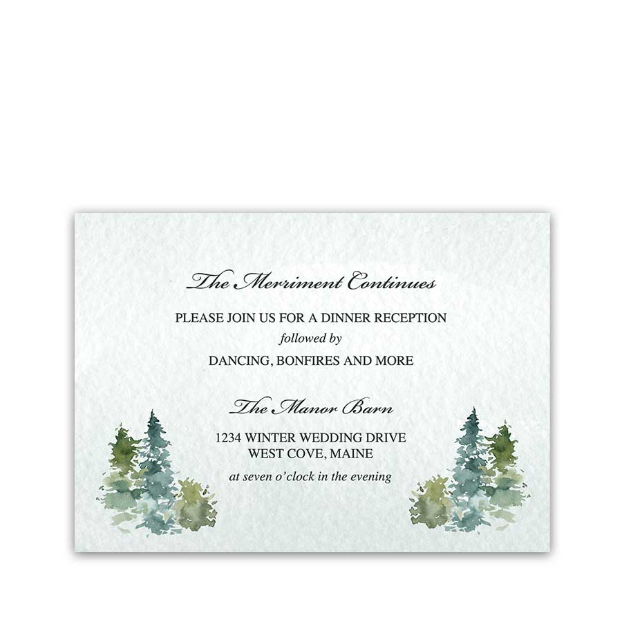 Winter Wedding Reception Details Card Insert