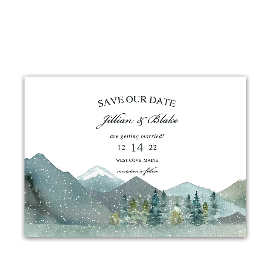 Save the Date Winter Wedding Mountain Forest Cards