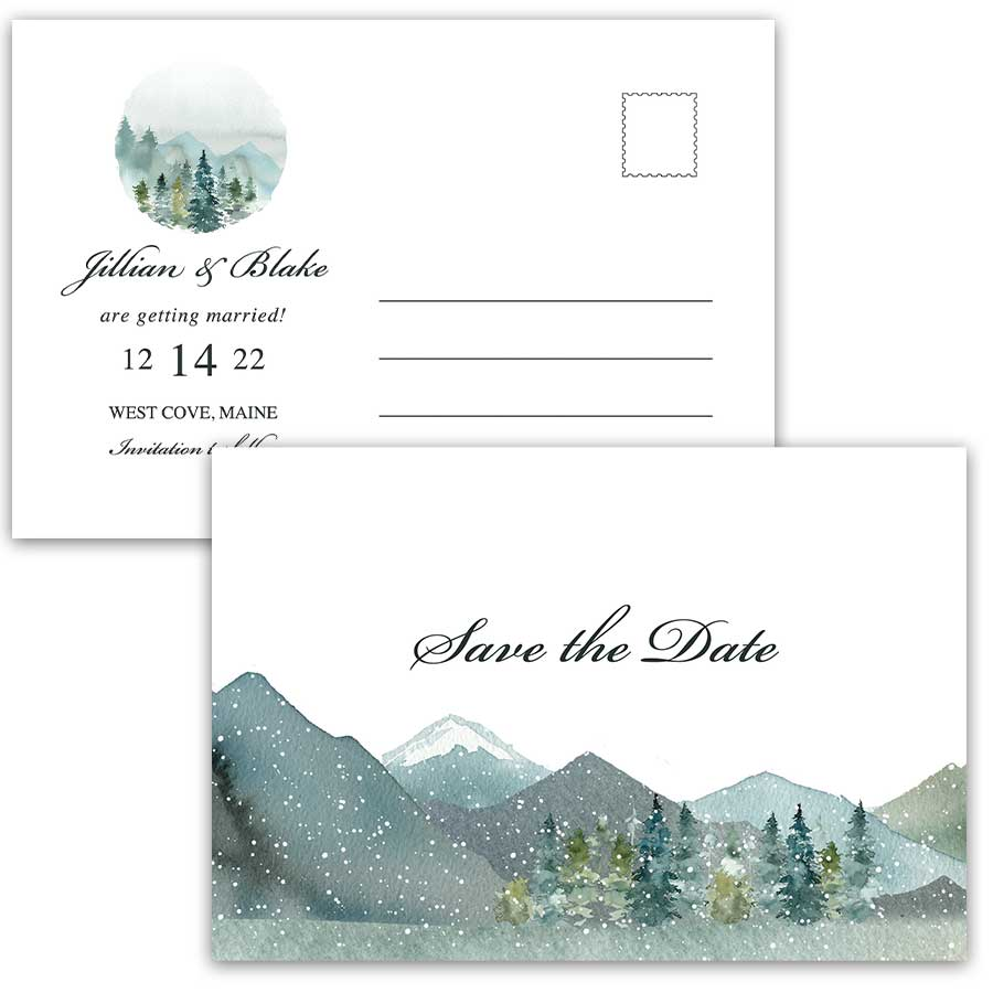 Winter Wedding Save The Date Evergreen Mountains