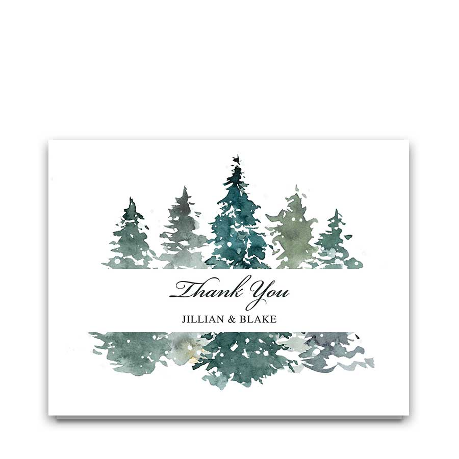 Winter Wedding Thank You Cards Pine Forest in Snow