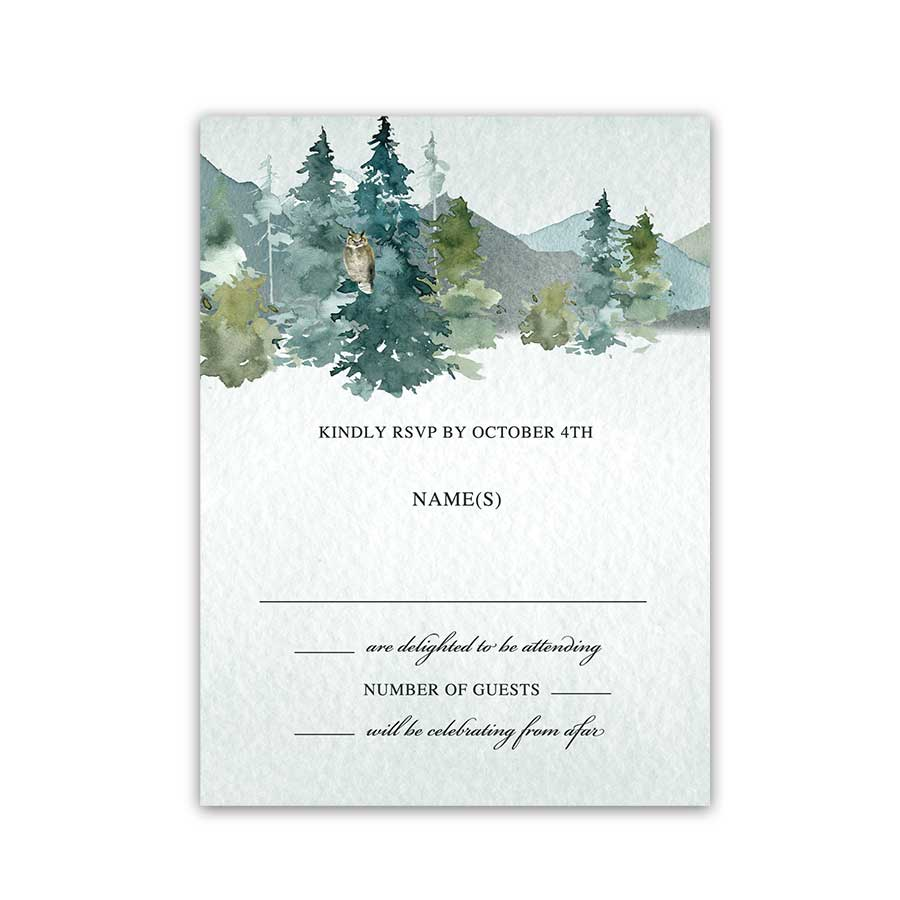 Woodland Winter Wedding RSVP Mountain Evergreen Forest